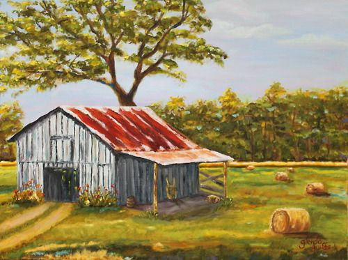 Old Gray Barn With Rusty Roof Farm Paintings Cow