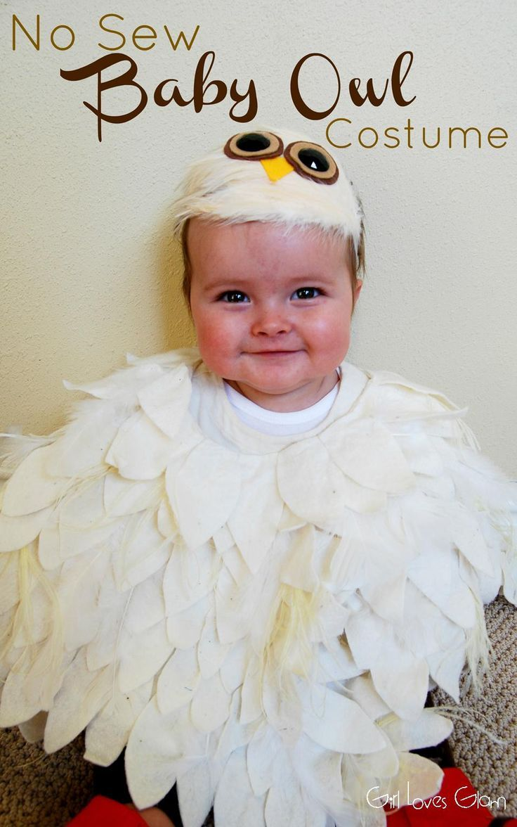 No Sew Baby Owl Costume | Girl Loves Glam #halloween #diy #tutorial #hedwig