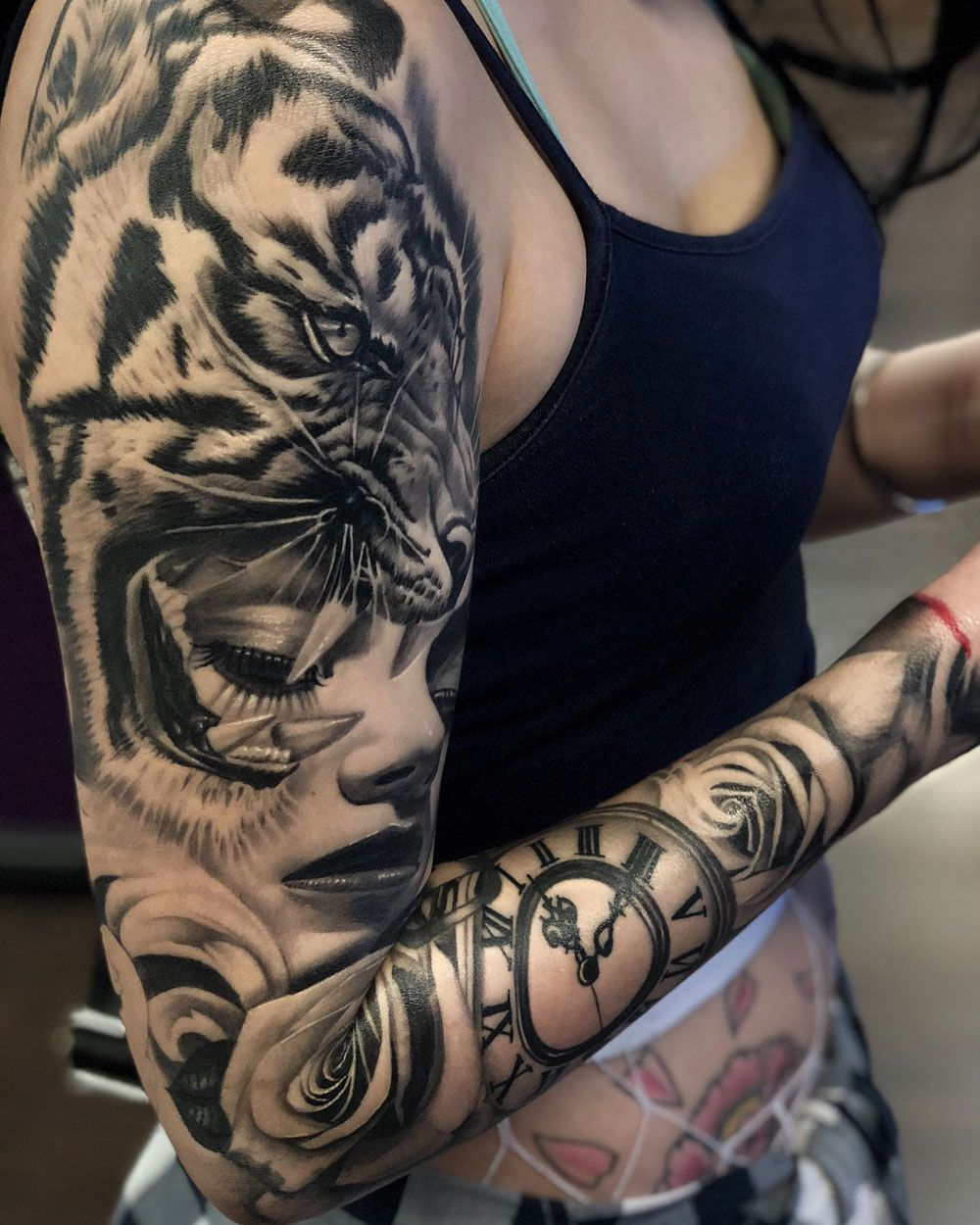 Black Grey Sleeve With A Tiger Portrait Clock And Roses Tattoo