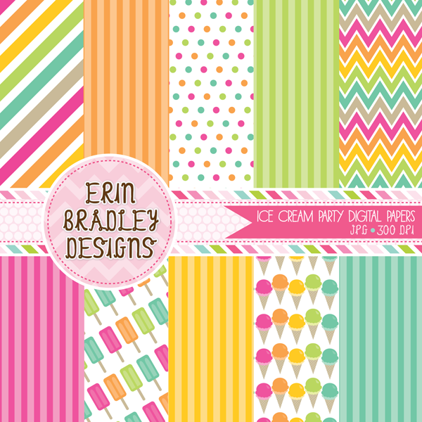 Ice Cream Party Digital Paper Set Personal & Commercial Use