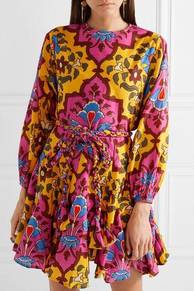 Ella Belted Printed Cotton Mini Dress - Pink Rhode Resort bVTYFhYt