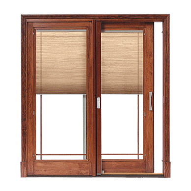 Designer Series Sliding Patio Doors With Built In Blinds Pella Terrassen Schiebetur Schiebestallturen Holzterrasse