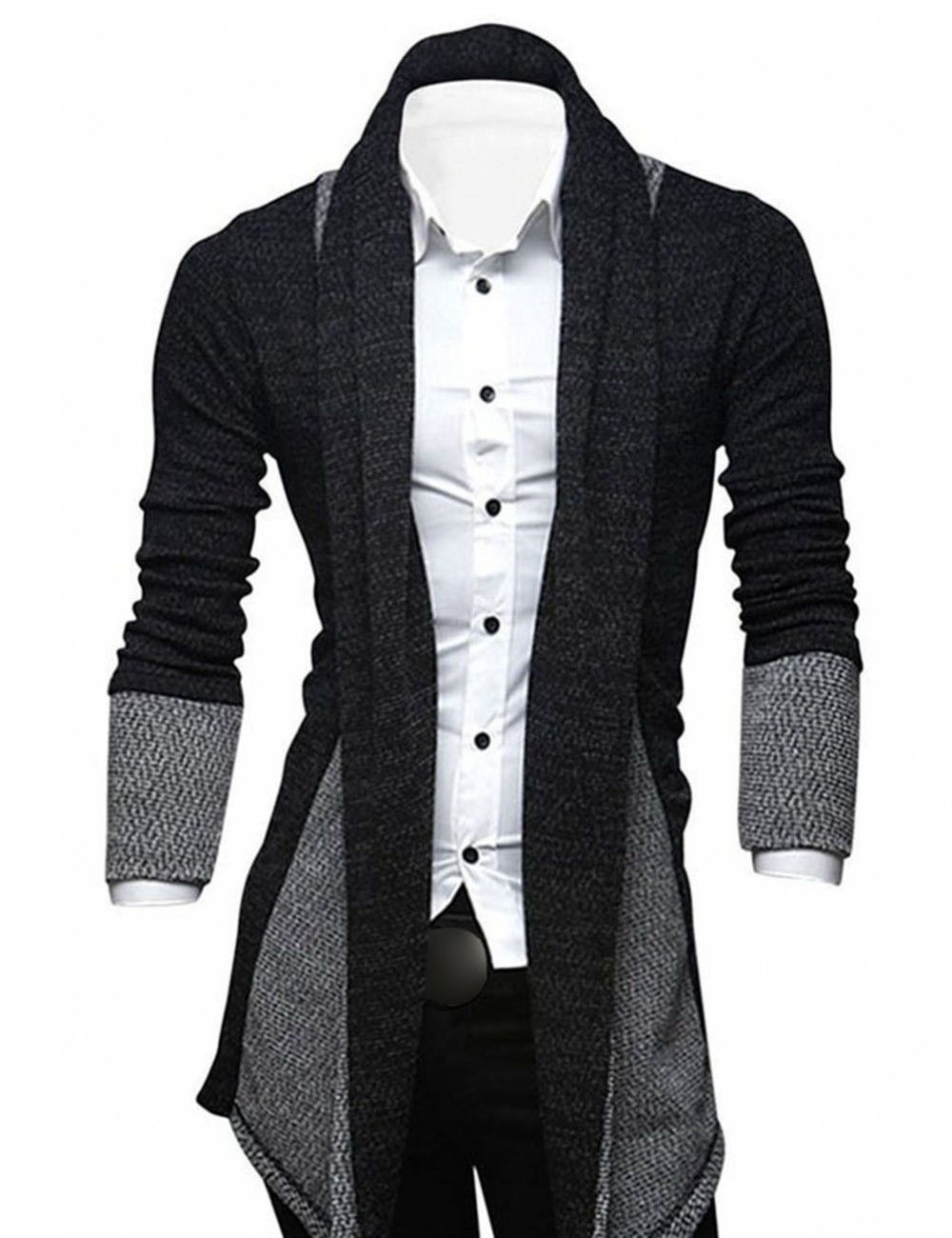 Men's Shawl Collar Open Front Classic Cardigan Fashion Knit Coat ...