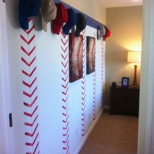 Baseball Seam Wall With Hat Rack