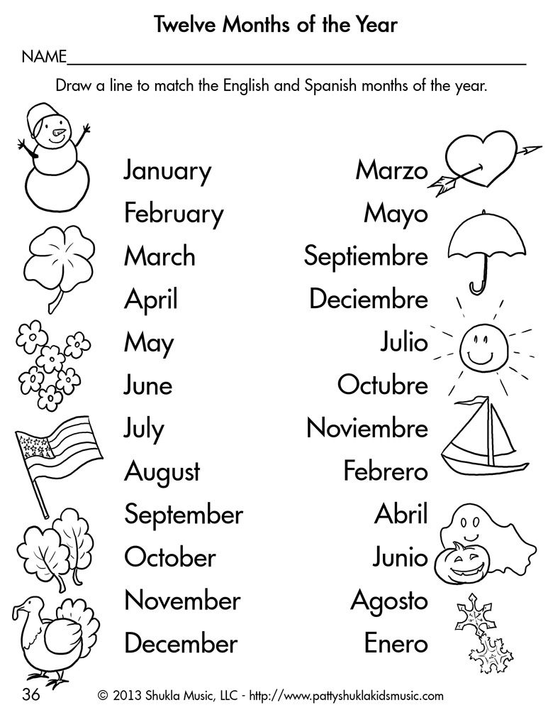 Learning Spanish Worksheets : Spanish children s songs for little ones