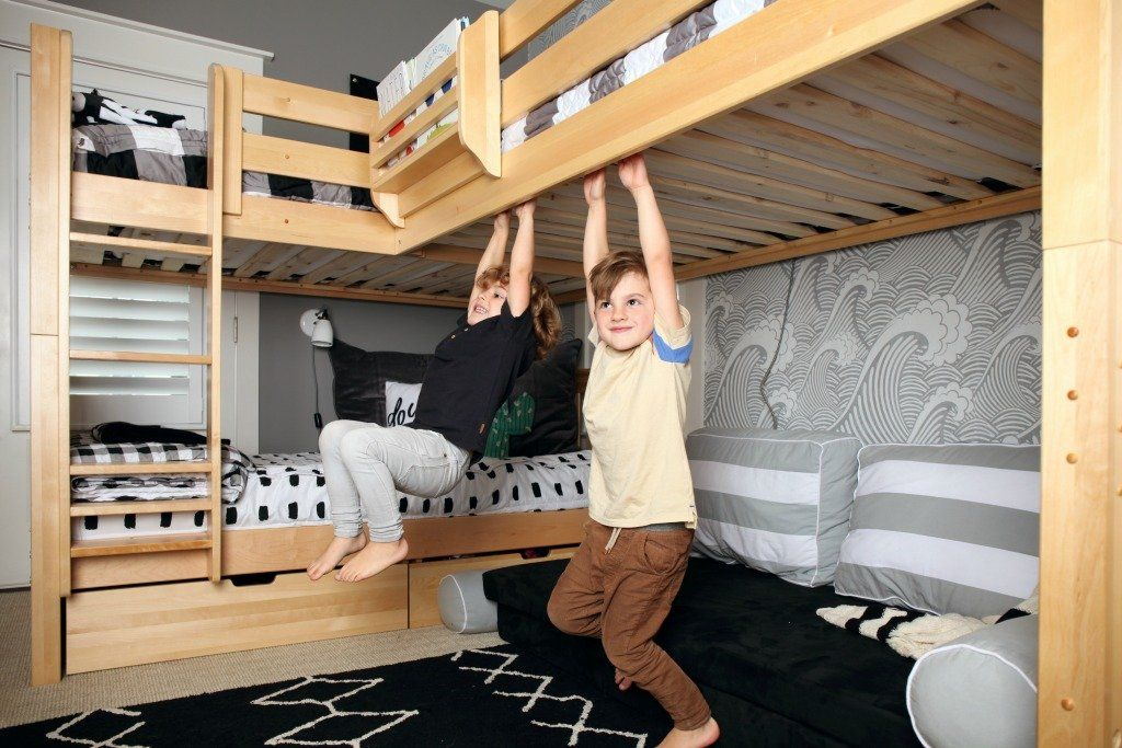 Room Reveal! Corner Bunk Beds add Space to Shared Boys Room