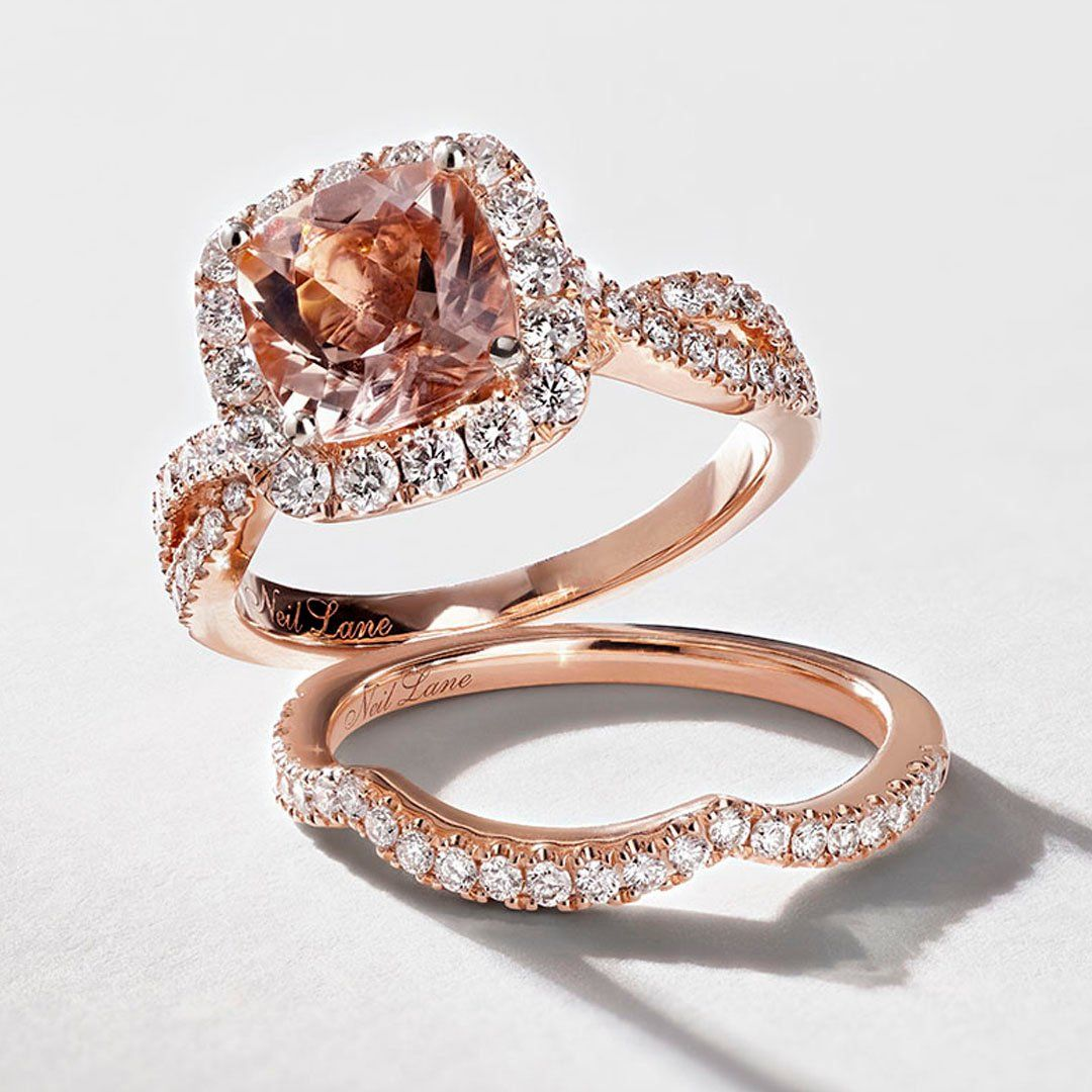 545d9b4af From Neil Lane Bridal, this romantic rose gold bridal set displays a  cushion-cut morganite center traced in dazzling round diamonds.