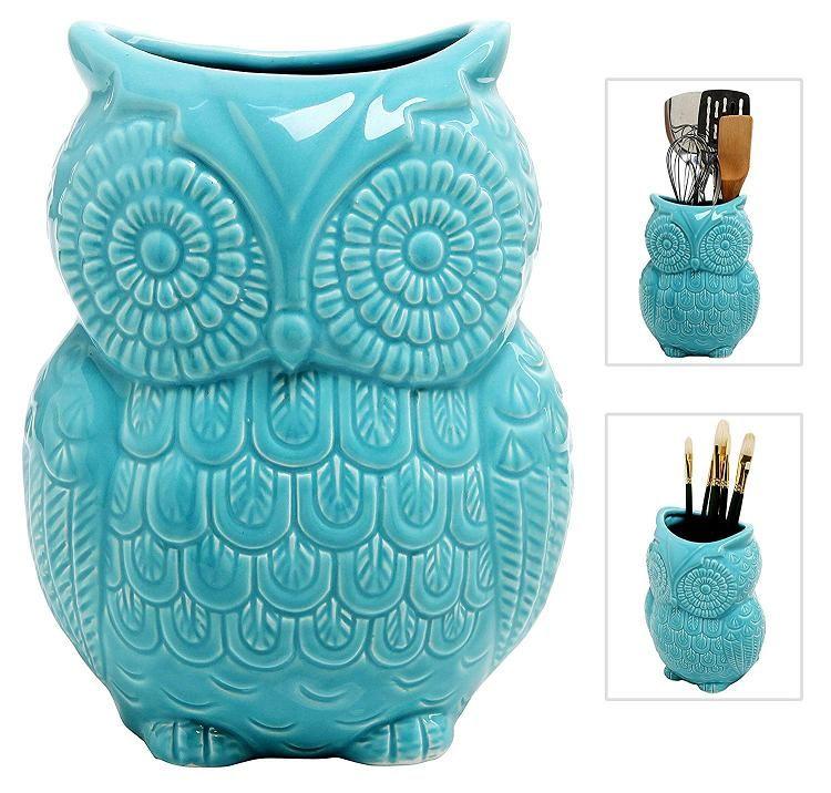 Kitchen Storage Crock Aqua Blue Large Owl Design Ceramic Cooking Utensil
