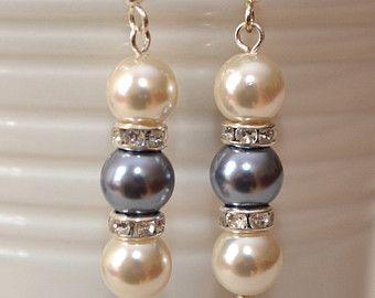 Pearl and Rhinestone Drop Earrings - Wedding Earrings - Bridal Jewellery - Ivory and Blue Pearls - Something Blue - Blue Bridesmaids