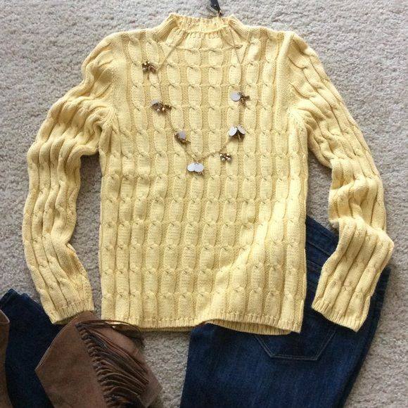 """Ann Taylor cable knit sweater Classic Ann Taylor cable knit sweater. Gorgeous buttery yellow color. Pullover styling. Slightly mock neck. Approx 23.5"""" shoulder to hem. Size S. 100% cotton. Excellent condition. Ann Taylor Sweaters"""