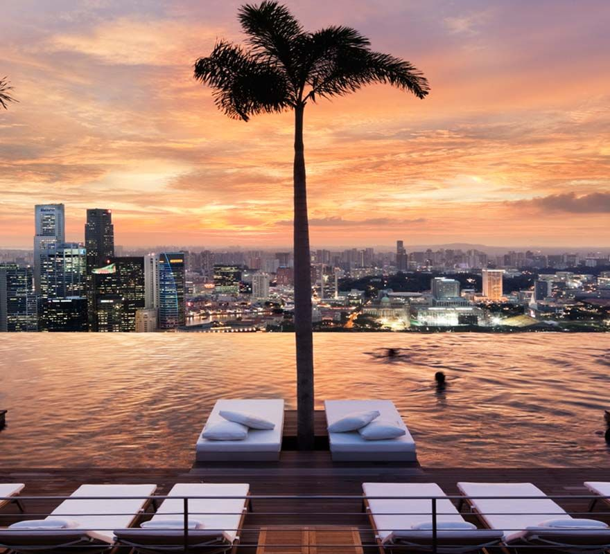 Marina Bay Sands Infinity Pool At Sunset Singapore Sands Singapore Places To Travel Beautiful Places