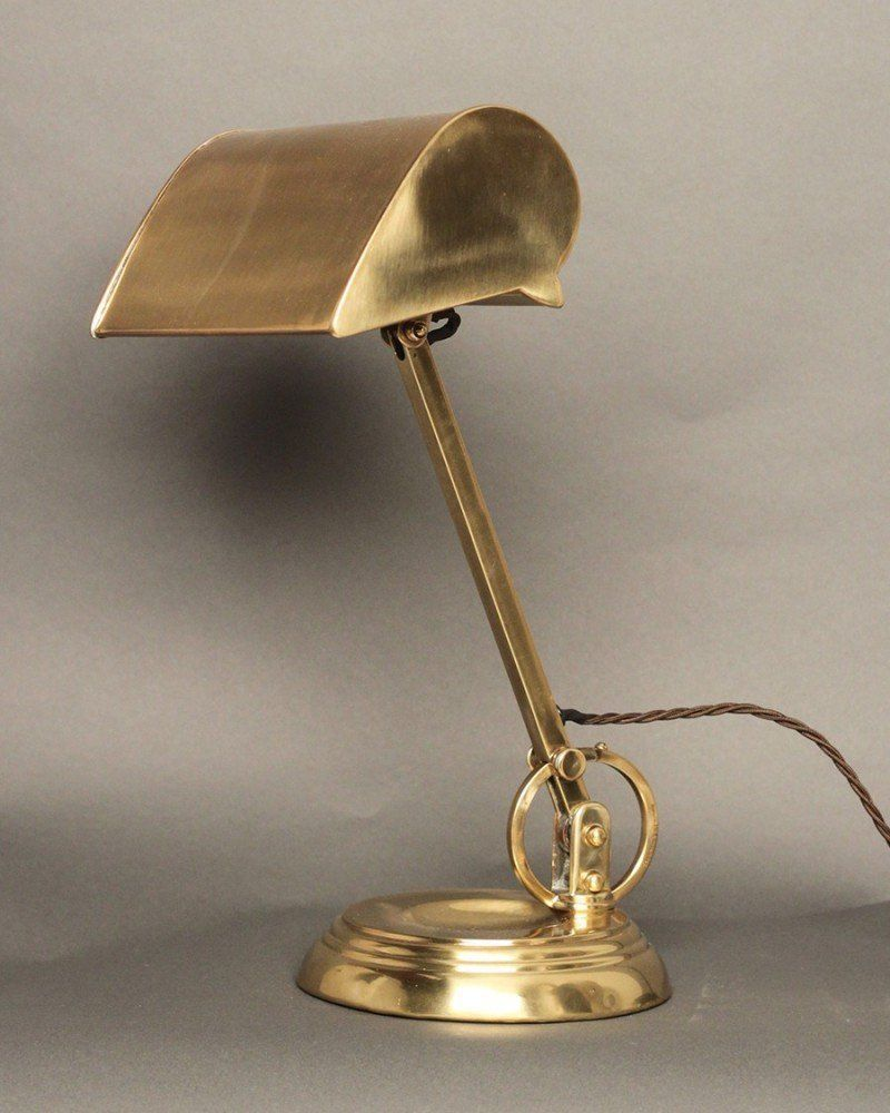 Large Antique Bankers Lamp Br Green