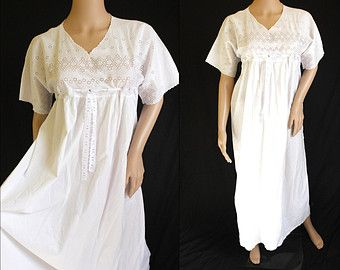 Antique 1920s Victorian Style White Cotton Nightgown Broderie Anglaise  Night Dress Nighty Genuine Vintage 12 14 16 - Edit Listing - Etsy 5522ce8e7