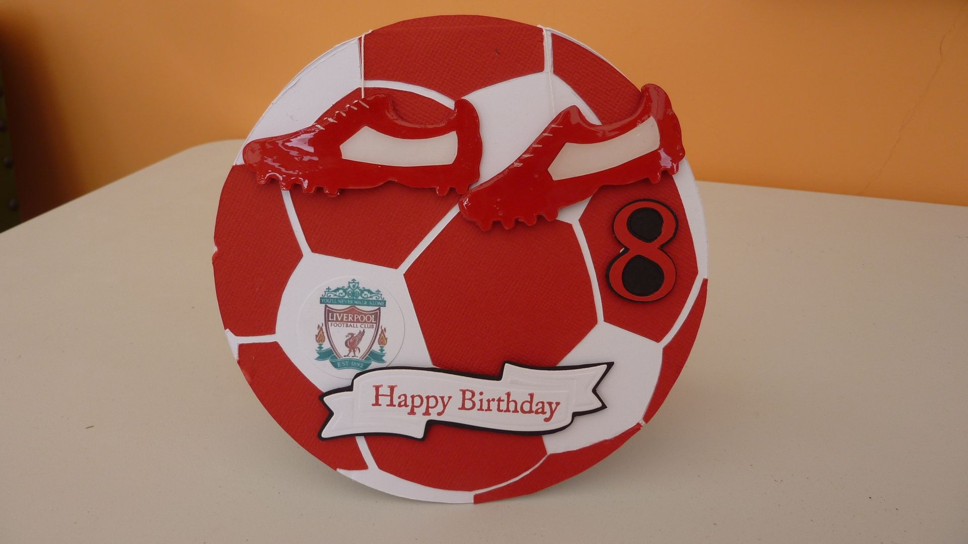Football Birthday Card My Grandson Supports Liverpool So I Thought Id Make This For His 8th Hope You Like It Oscar