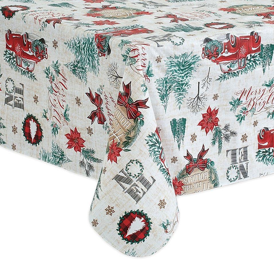 Holiday Truck 60 X 120 Oblong Tablecloth Multi Vinyl Tablecloth Table Cloth Festive Tablecloth