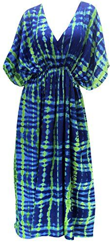 17a45a2b8c LA LEELA Lightweight Womens Beach Bikini Swimsuit Caftan Swimwear Cover up  Dress Green   Check this