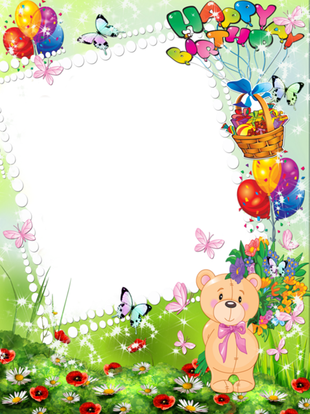 Happy Birthday Kids Transparent Photo Frame with Cute Bear | fondos ...