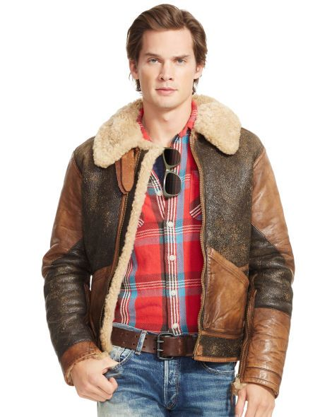 Distressed Shearling Bomber - Polo Ralph Lauren Leather & Suede ...