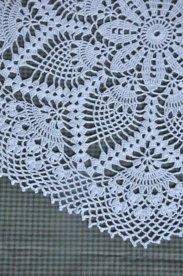 Crocheted Cotton Doilies White Elegant Round Lace Table Topper #cottondoily  #lace #whitelace #