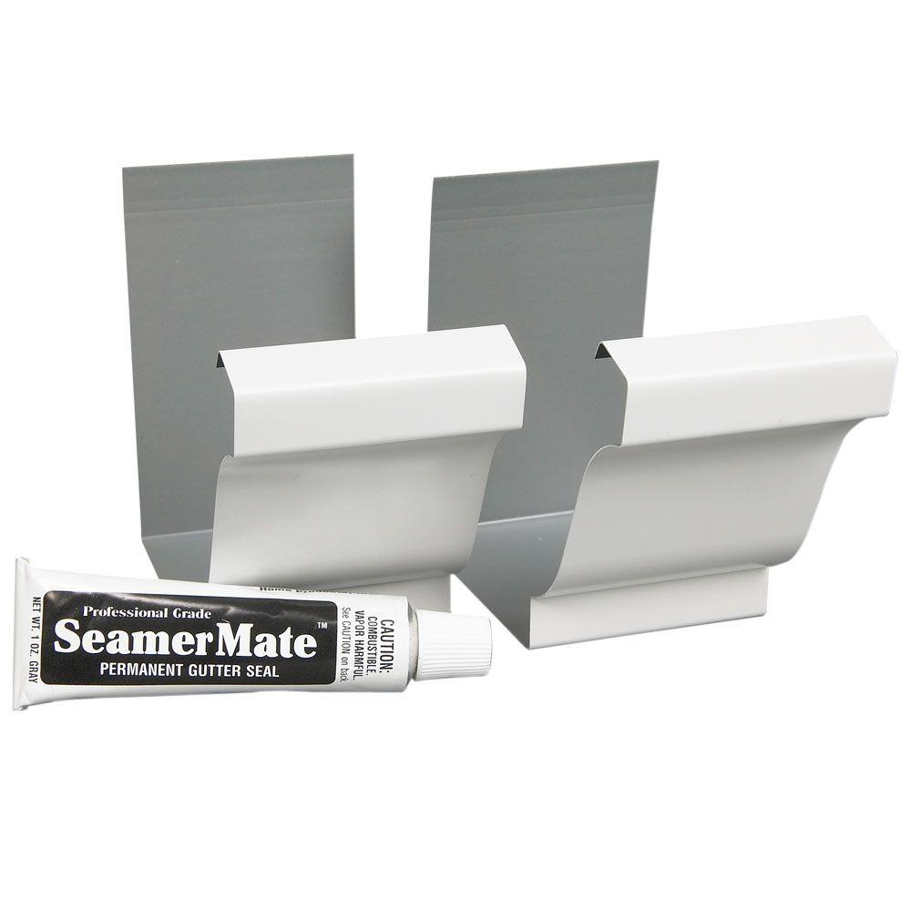 Amerimax Home Products 5 In White Aluminum Seamers With Seamermate 2 Pack 27008 The Home Depot Gutter Galvanized Gutters Gutters