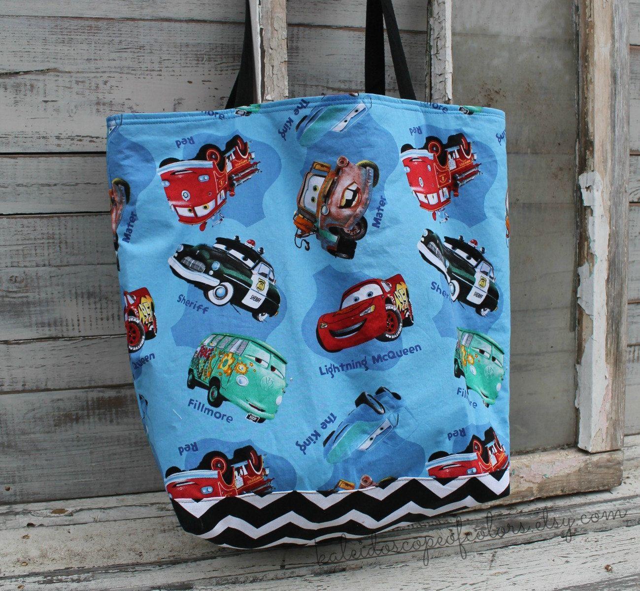 Disney Cars Lightening McQueen Tote Bag Diaper By KaleidoscopeOfColors On Etsy