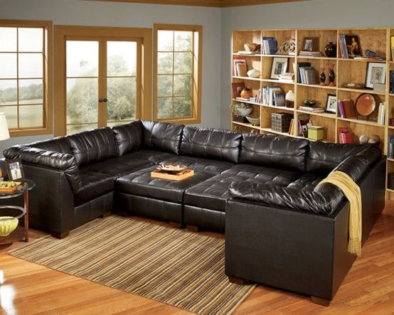 Furniture, Leather Modular Sofa Leather Loveseat Oversized ...