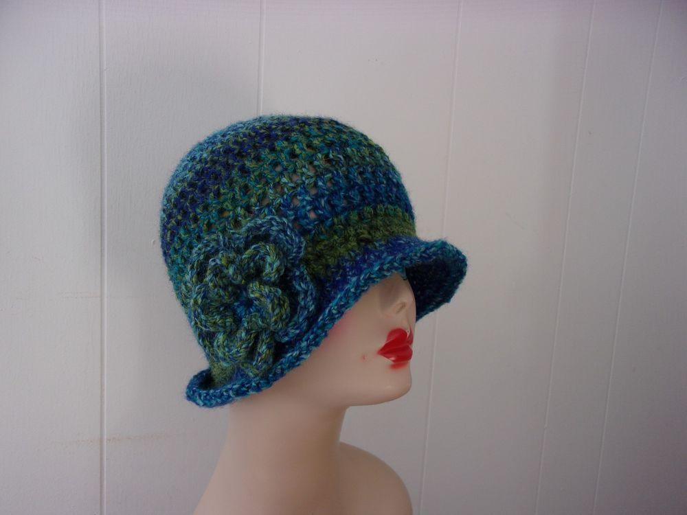 Womens hand crochet soft cloche flapper beanie hat blues & greens w ...