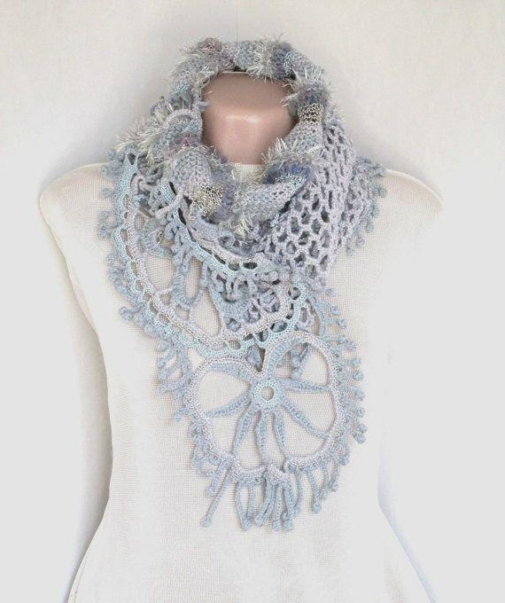 Crochet scarf, Freeform Crochet Scarf ,Neck Warmer ,Handknitted ...