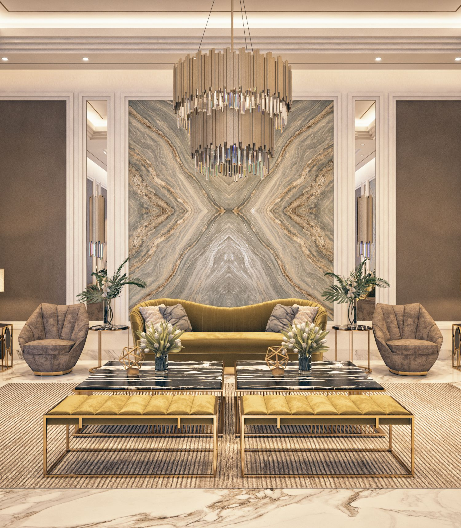 Luxurious Main Reception Interior Design By Amsolutions Riyadh