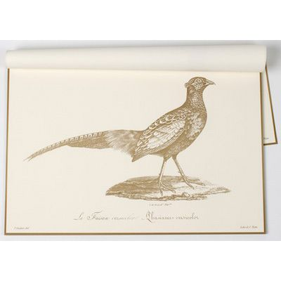 Paper Trail Harvest Pheasant Paper Placemats Holiday Table Settings Winter Entertaining Placemats