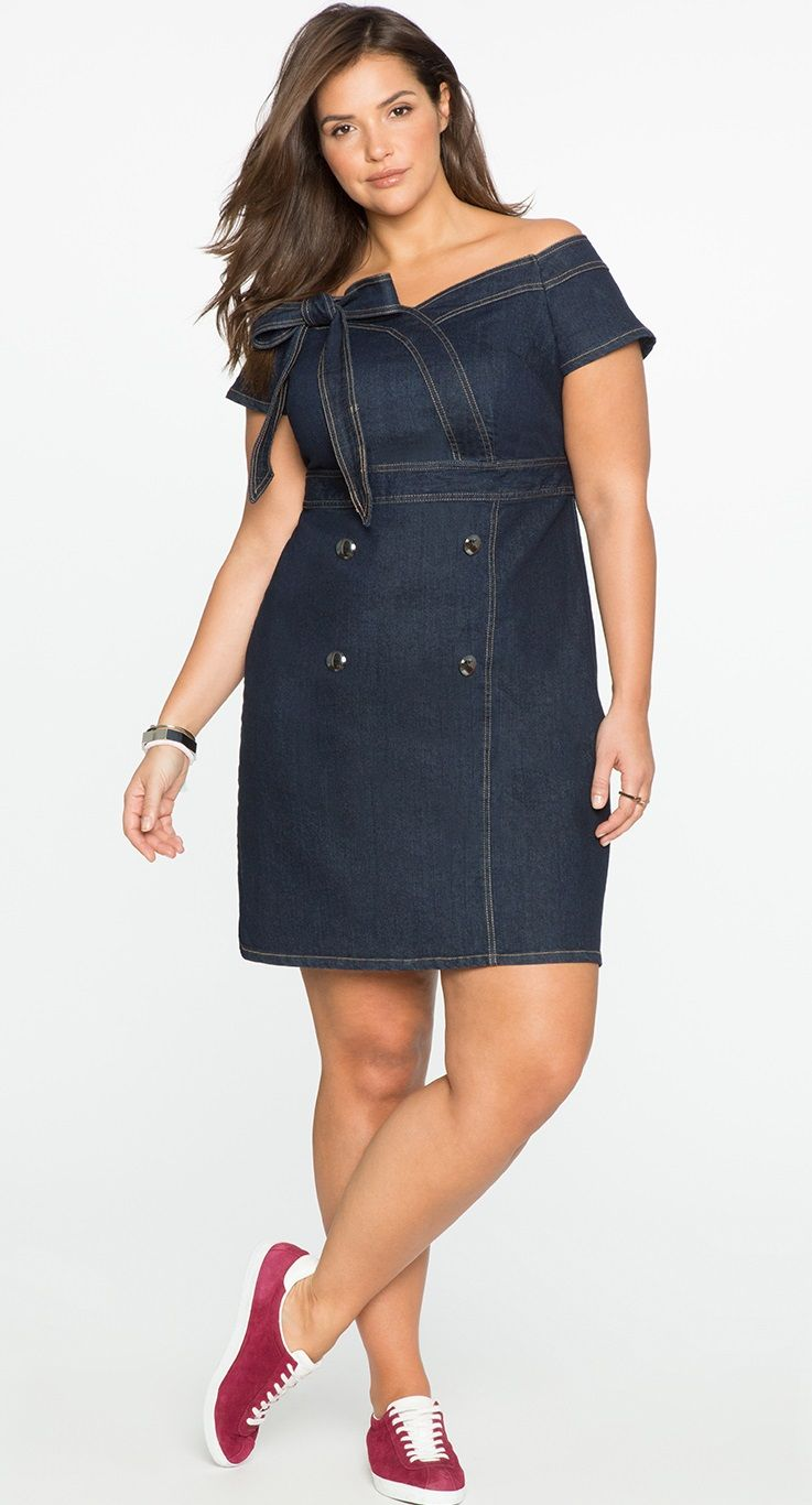 Plus size off the shoulder sweetheart denim dress my style