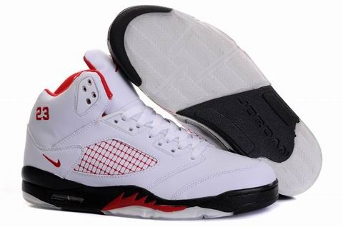 check out 99ebc f91bf Air Jordan 5 V Retro Embroidery White Black Fire Red Shoes AJ5-015
