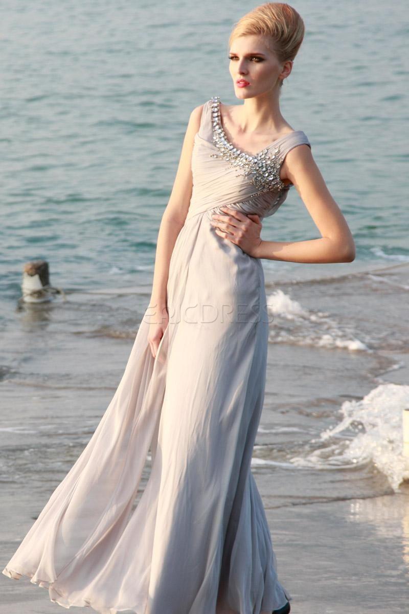 Elegent aline straps beading floorlength prom dress elegant