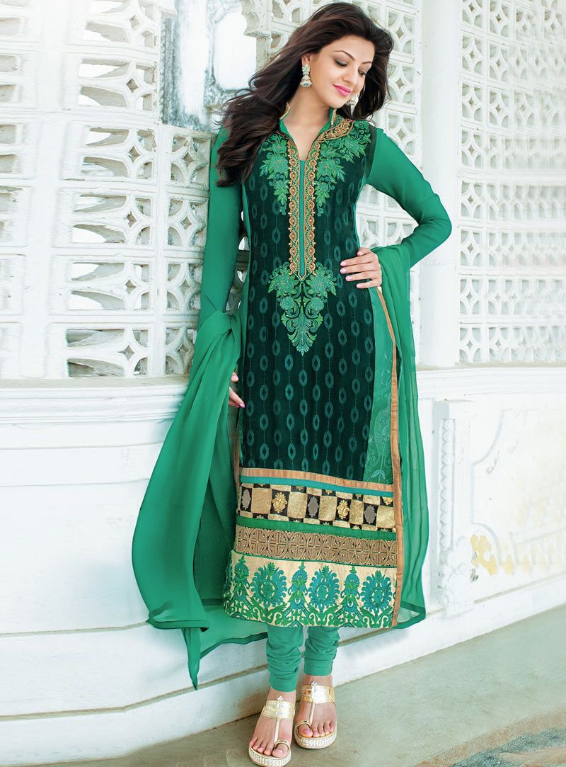 Kajal Aggarwal Green Georgette Churidar Salwar Suit 87860 Ladies Suits Indian Ladies Suit Design Fashion
