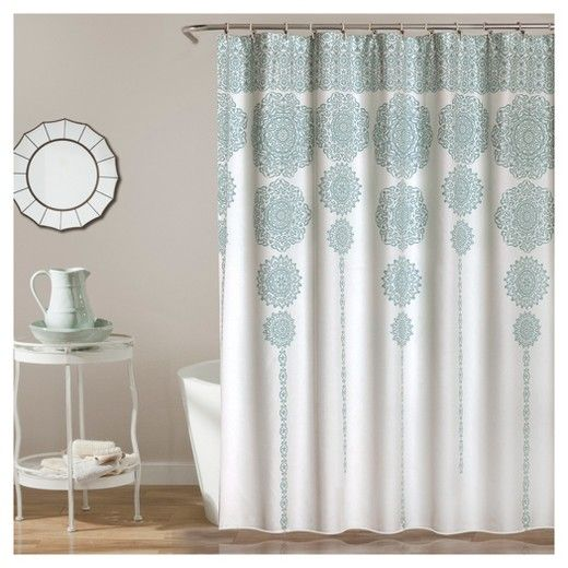This Stripe Medallion shower curtain features a stunning cascade of - cortinas azules