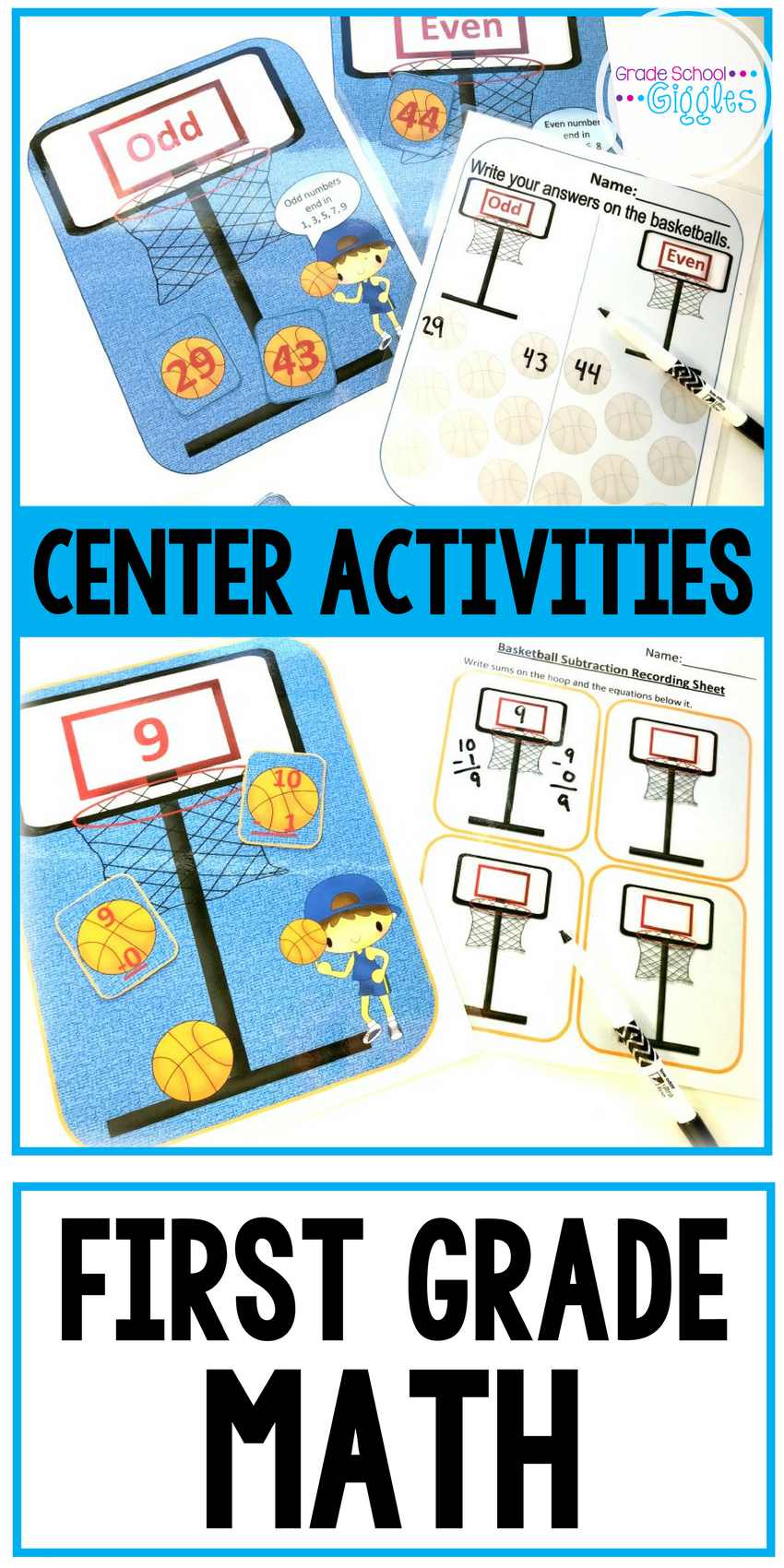 Addition and Subtraction Centers: Basketball Math | Center ...