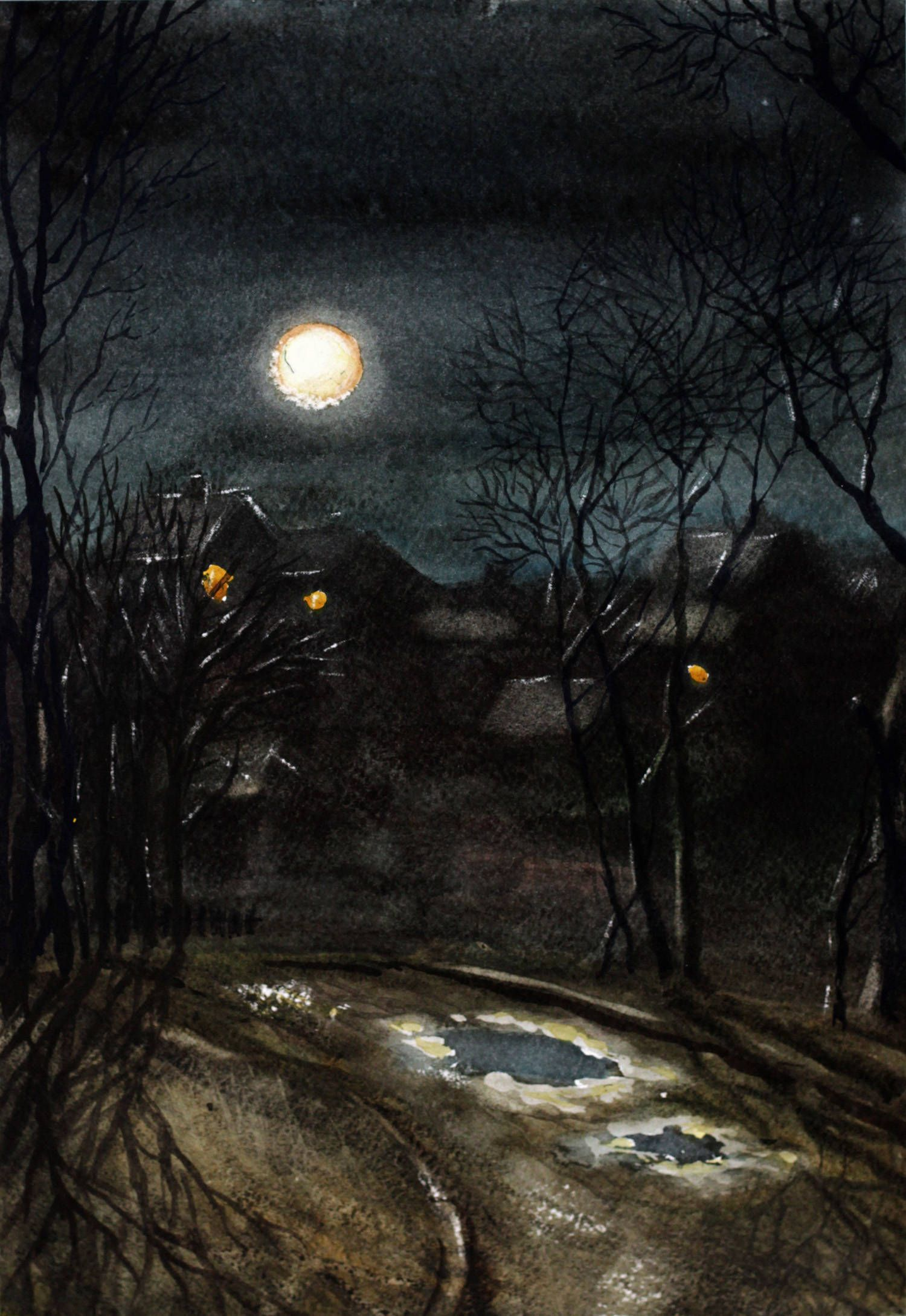 Moonlight Night Painting Watercolor Landscape Original European Art Houses Dark Blue Gary Holiday Gift For Her Him Gallery Wall In 2020 Night Painting Night Art Night Landscape