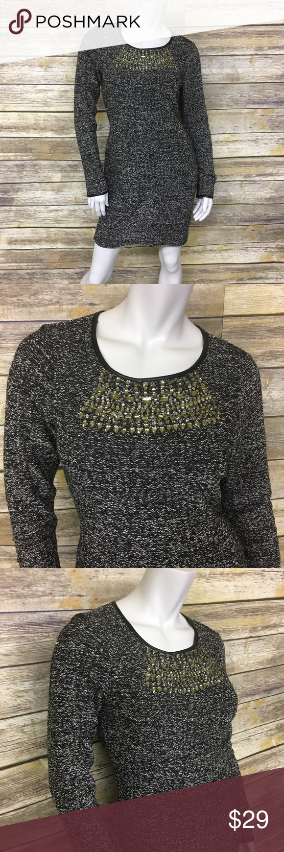 Rhinestone long sleeve sweater dress shoulder
