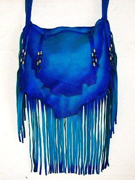 Where To Designer Leather Purse Mermaid Blue Fringe Handbag Hippie Retro Beaded Bag Handmade By Debbie