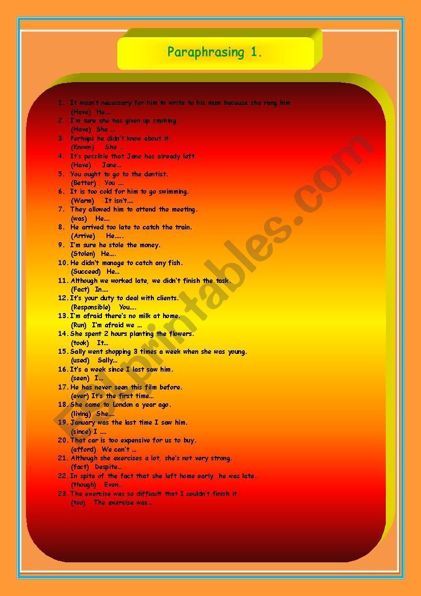Paraphrasing 1 Esl Worksheet By Herika69 Paraphrase Grammar Lesson Plans Rule