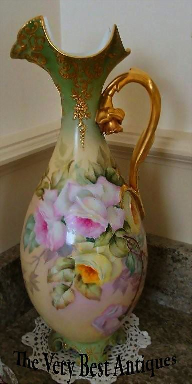 Limoges France Hand Painted Porcelain Vase - Ewer - ~Roses~ from theverybest on Ruby Lane