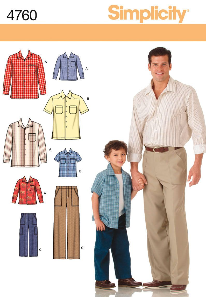 Boys and Mens Pants and Shirt Sewing Pattern 4760 Simplicity; boys ...