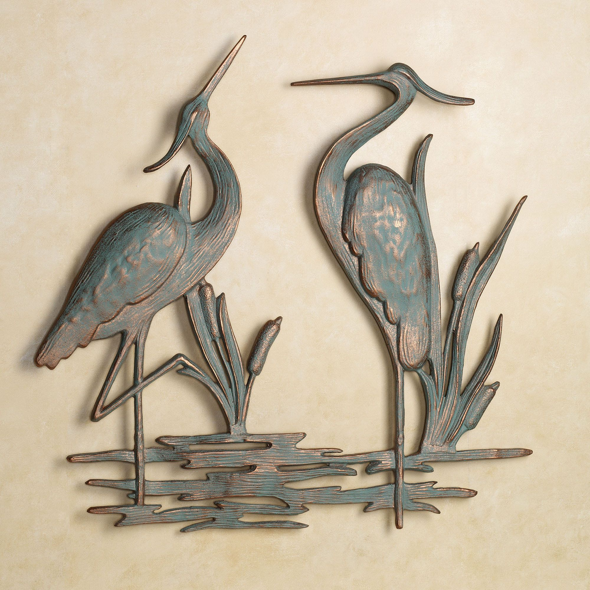 Heron metal wall art outdoor