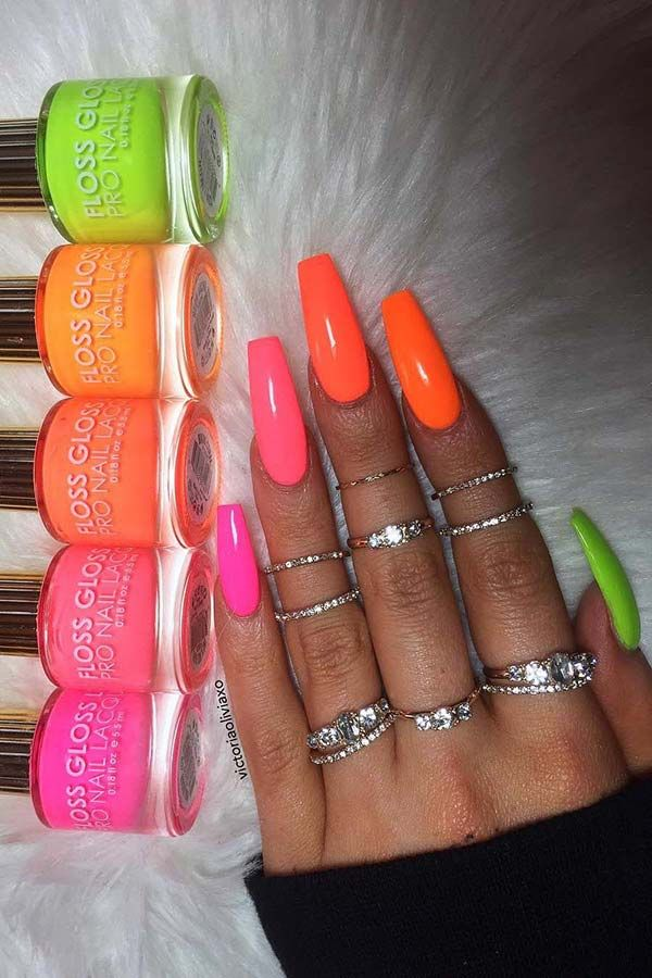 43 Colorful Nail Art Designs That Scream Summer Page 2 Of 4 Stayglam Neon Acrylic Nails Summer Acrylic Nails Dream Nails