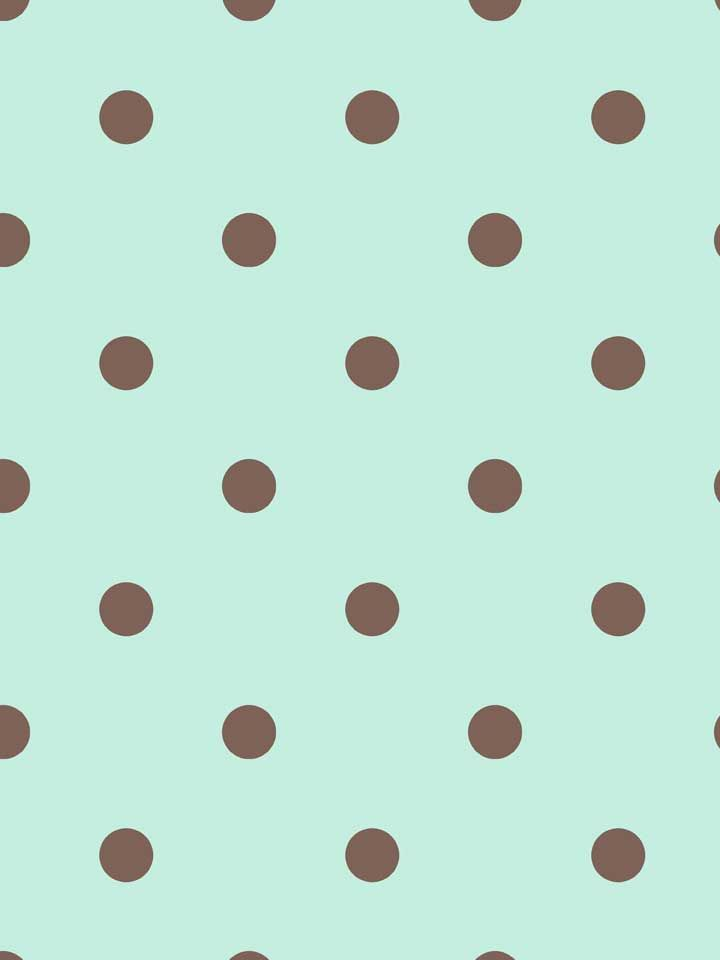 Mint And Chocolate Polka Dotted Wallpaper From