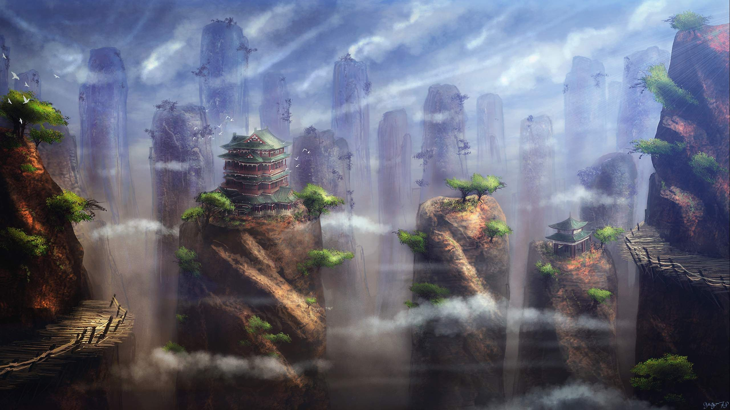 Fantasy Landscape Painting Hd Wallpaper Download For Desktop Fantasy Landscape Landscape Paintings Background Images