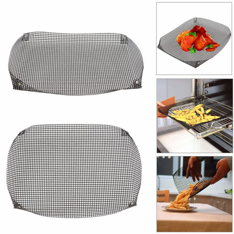 NEW!!!Reusable Non-stick Chip Mesh Oven Baking Tray Basket Grilling Pan Sheet Crisper Plate Dishes
