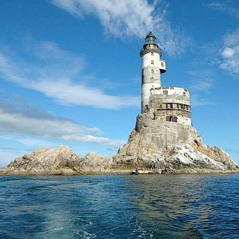 The Mys Aniva Lighthouse, a Soviet era nuclear-powered lighthouse on the coast of Sakhalin, Russia's largest island.