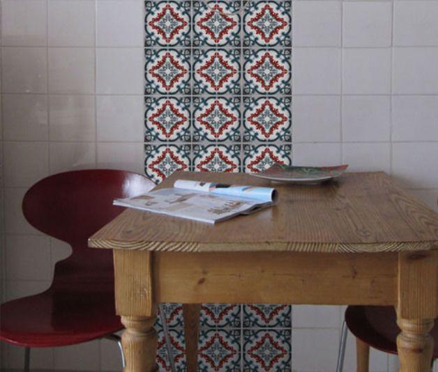 Fliesenaufkleber AZULEJO Portugiesische Fliesenaufkleber Ein - Portugiesische fliesen azulejos
