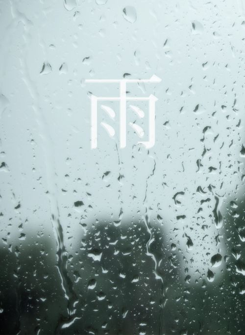 "Japanese letter 雨 a-me ""rain"""